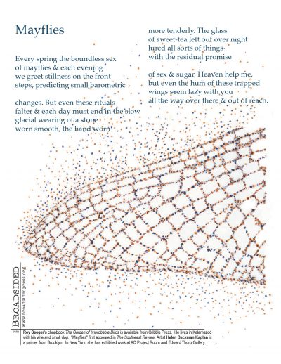 """Mayflies"" - Poem by Roy Seeger, Art by Helen Beckman Kaplan - a Broadsided Press Collaboration"