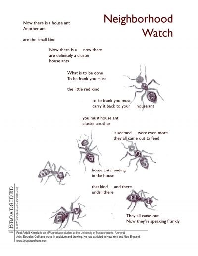"""Neighborhood Watch"" - Poem by Anjali Khosla, Art by Douglas Culhane - a Broadsided Press Collaboration"