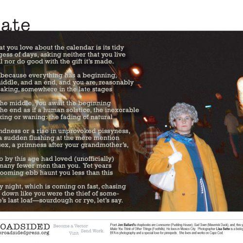 """Late"" - Poem by Jon Ballard, Art by Lisa Sette - a Broadsided Press Collaboration"