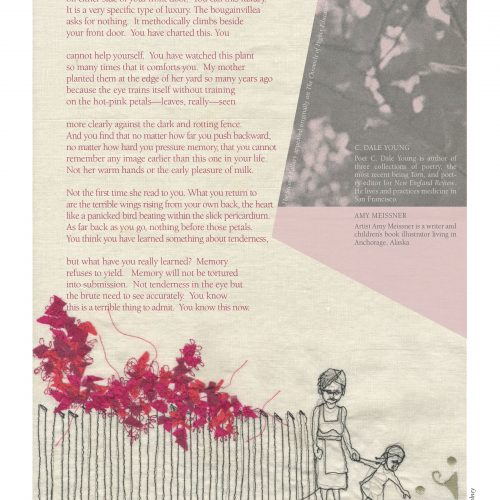 "The broadside ""The Second Fallacy"" by poet C. Dale Young and artist Amy Meissner. The image is embroidery on linen of a mother and young girl alongside a fence with blooming pink flowers. Rosy, beige, and gray hues predominate."
