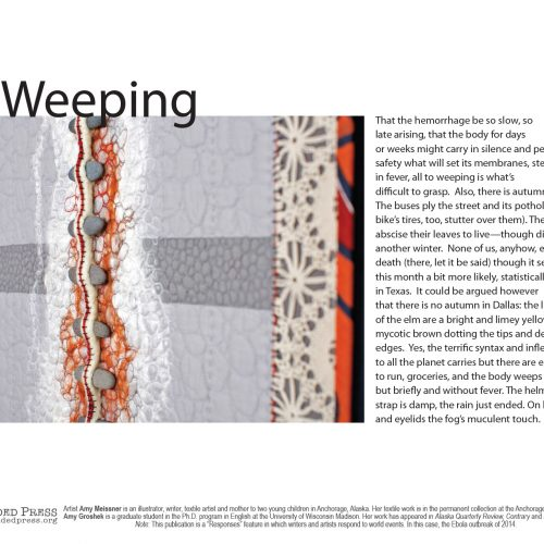 """To Weeping"" Poem by Amy Groshek, Art by Amy Meissner - a Broadsided Press Collaboration"