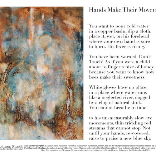 """Hands Make Their Movements"" - Poem by Maureen E Doallas, art by Maura Cunningham - a Broadsided Press Collaboration"