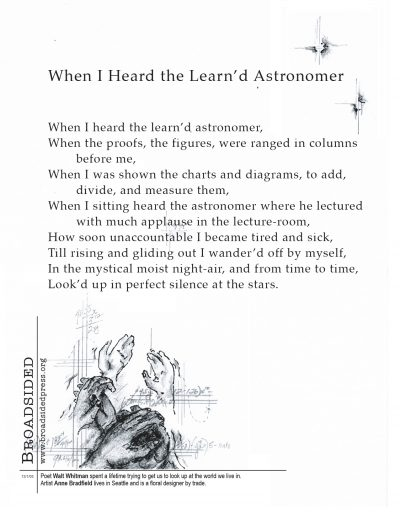 """When I heard the Learn'd Astronomer"" - Poem by Walt Whitman, Art by Anne Bradfield - a Broadsided Press Collaboration"