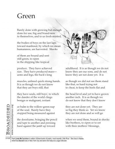 """Green"" - Poem by Linda McCarriston, Art by Eva Barash - a Broadsided Press Collaboration"