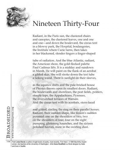 """1934"" - Poem by Linda Bierds, Art by Anne Bradfield - a Broadsided Press Collaboration"