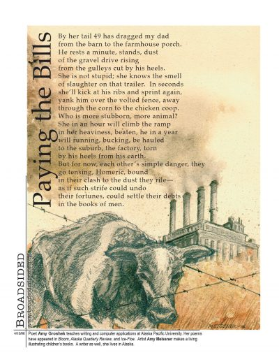 """Paying the Bills"" - Poem by Amy Groshek, Art by Amy Meissner - a Broadsided Press Collaboration"