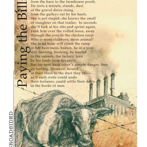 """""""Paying the Bills"""" - Poem by Amy Groshek, Art by Amy Meissner - a Broadsided Press Collaboration"""