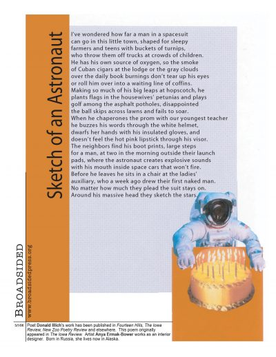 """Broadside of """"Sketch of an Astronaut,"""" poem by Donald Illich with art by Anya Ermak."""