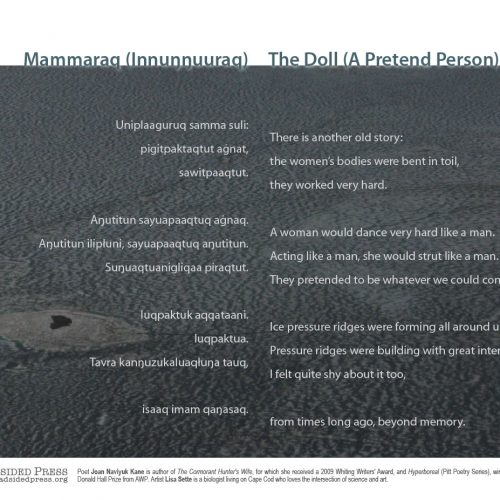 "Broadside of the poem ""The Doll (A Pretend Person)"" / ""Mammaraq (Innuŋŋuuraq)"" by Joan Naviyuk Kane with art by Lisa Sette. The image is a close up dark gray and blue photograph, that could be an extreme close up of a cell or photographic negative of topography from the air, according to the poet. The poem rests on top of the image in white text, with the title in dark blue/gray resting on top of the photograph itself."