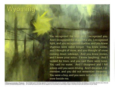 "Broadside of ""Wyoming,"" poem by Jill Osier with art by Kara Page."