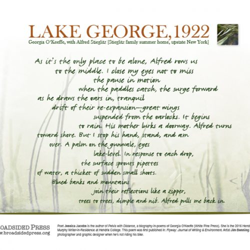 """Broadside of """"Lake George, 1922,"""" poem by Jessica Jacobs with art by Jim Benning."""