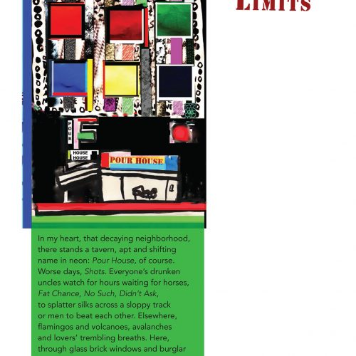 """Broadside of """"Limits,"""" poem by Aaron Ansett with art by Ira Joel Haber."""