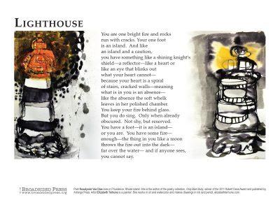 "Broadside of ""Lighthouse,"" poem by Rosalynde Vas Dias with art by Elizabeth Terhune."
