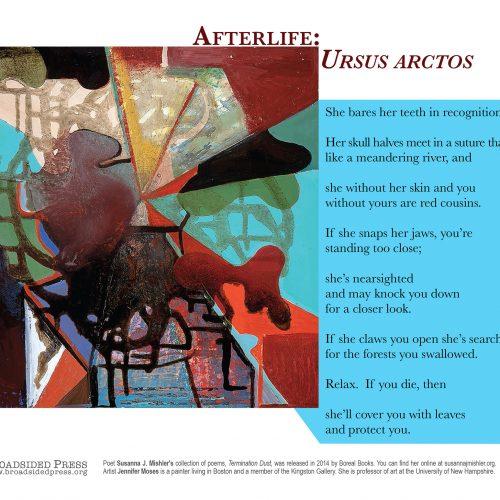 """Broadside of """"Afterlife: Ursos Arctos,"""" poem by Susanna Mishler with art by Jennifer Moses."""