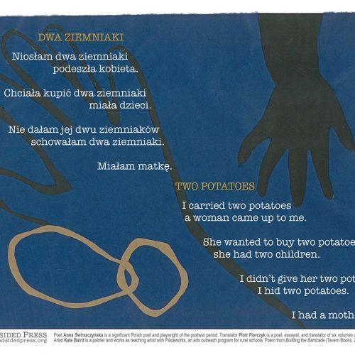 """Broadside of """"Two Potatoes""""/""""Dwa ziemniaki,"""" poem by Anna Świrszczyńska and Piotr Florczyk with art by Kate Baird."""