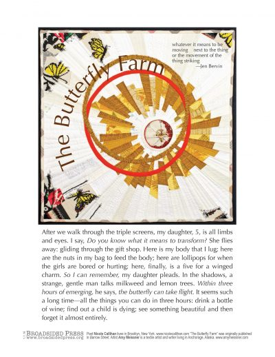 "The broadside ""The Butterfly Farm"" by poet Nicole Callahan and artist Amy Meissner. The poem rests underneath a photograph of a quilted square, yellow and white predominate. The quilted pattern is made of many swirling and circular pieces of fabric."