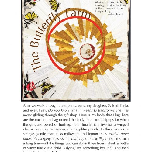 """The broadside """"The Butterfly Farm"""" by poet Nicole Callahan and artist Amy Meissner. The poem rests underneath a photograph of a quilted square, yellow and white predominate. The quilted pattern is made of many swirling and circular pieces of fabric."""