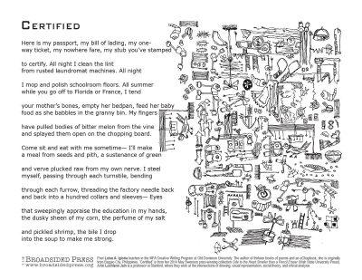 "Broadside of ""Certified,"" poem by Luisa A. Igloria with art by Løchlann Jain."