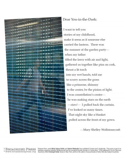 """Broadside of """"Dear You-in-the-Dark,"""" poem by Molly Sutton Kiefer and Valerie Wetlaufer with art by Christoph Keller."""