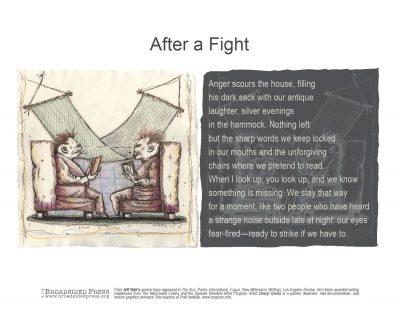 "Broadside of ""After a Fight,"" poem by Jeff Walt with art by Cheryl Gross."