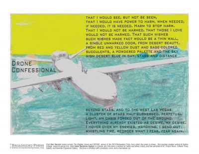 """Broadside of """"Drone Confessional,"""" poem by Kim Garcia with art by Helen Beckman Kaplan."""