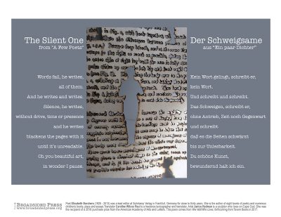 """Broadside of """"The Silent One,"""" poem by Elisabeth Borchers and Caroline Wilcox Reul with art by Janice Redman."""