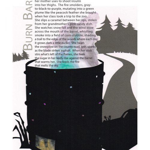 "Broadside of ""Burn Barrel,"" poem by Todd Davis with art by Sarah Van Sanden."