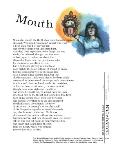 """Mouth"" - Poem by Robert Wrigley, Art by Caleb Brown - a Broadsided Press Collaboration"