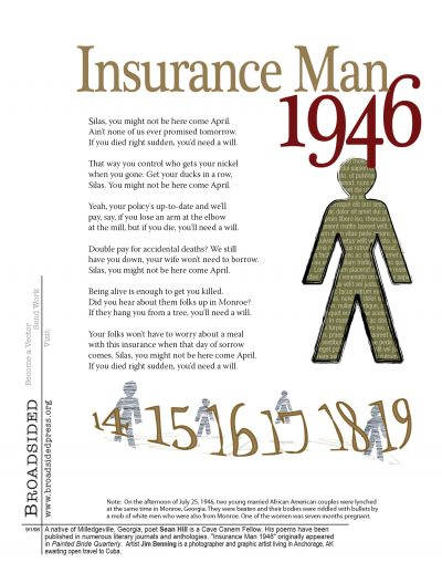 """Insurance Man, 1946"" - Poem by Sean Hill, Art by Jim Benning - a Broadsided Press Collaboration"