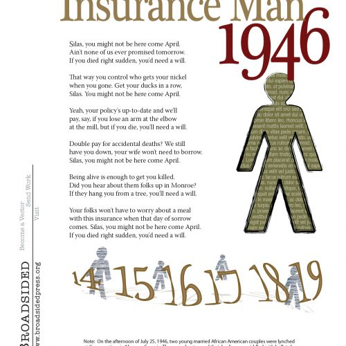 """Insurance Man, 1946"" - Poem by Sean Hill, Art by Jim Benning - a Broadsided Press Collaboration"
