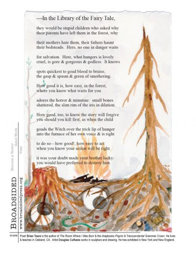 """In the Library of the Fairy Tale"" - Poem by Brian Teare, Art by Douglas Culhane - a Broadsided Press Collaboration"