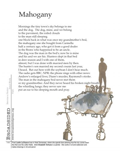 """Mahogany"" - Poem by Leslie LaChance, Art by Elizabeth Terhune - a Broadsided Press Collaboration"