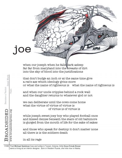 """joe"" - Poem by Michel Speilman, Art by Anya Ermak Bower - a Broadsided Press Collaboration"