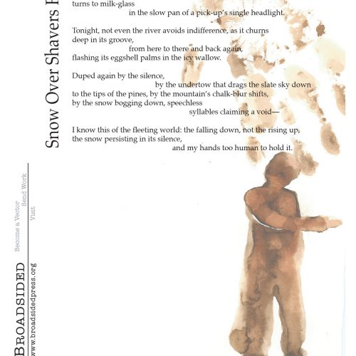 """Snow Over Shavers Fork"" - Poem by Brian Barker, Art by Elizabeth Terhune - a Broadsided Press Collaboration"