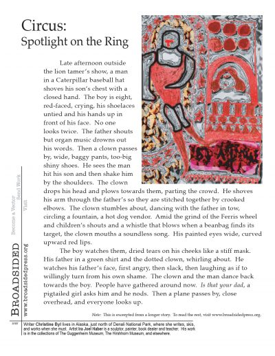 """Circus: Spotlight on the Ring"" - Prose by Christine Byl, Art by Ira Joel Haber - a Broadsided Press Collaboration"