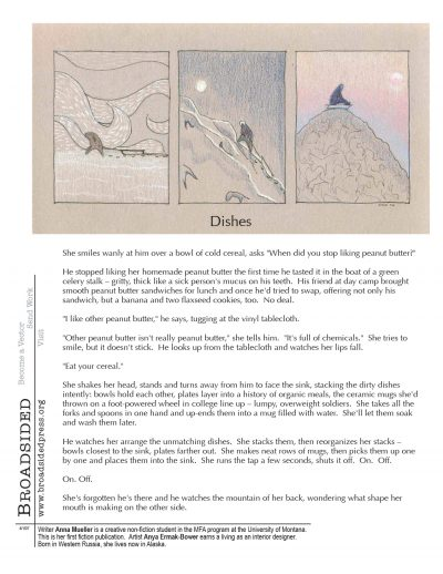 """Dishes"" - Poem by Anna Mueller, Art by Anya Ermak-Bower - a Broadsided Press Collaboration"