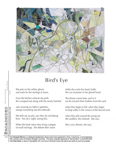 """Bird's Eye"" - Poem by Amanda Warren, Art by Kate Baird - a Broadsided Press Collaboration"