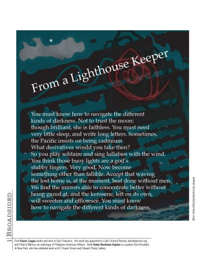 """From a Lighthouse Keeper"" - Poem by Karen Llagas, Art by Helen Beckman Kaplan - a Broadsided Press Collaboration"