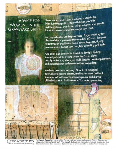 """""""Advice for Women on the Graveyard Shift"""" - Poem by Karen J Weyant, Art by Alicia F Norling - a Broadsided Press Collaboration"""