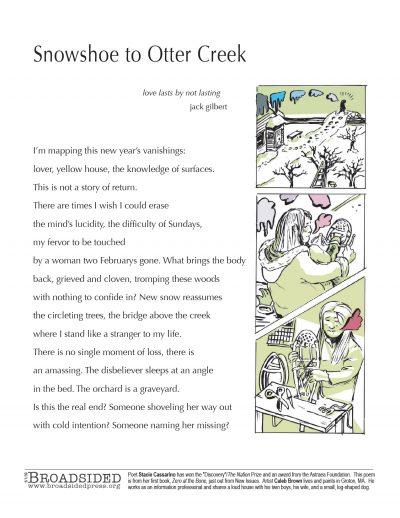 """Snowshoe to Otter Creek"" - Poem by Stacie Cassarino, Art by Caleb Brown - a Broadsided Press Collaboration"