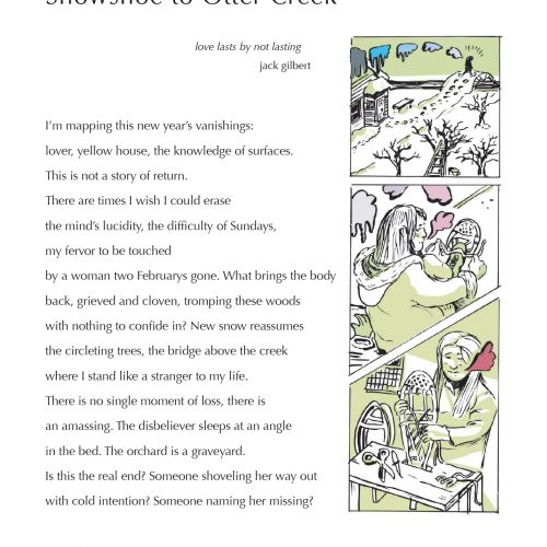 """""""Snowshoe to Otter Creek"""" - Poem by Stacie Cassarino, Art by Caleb Brown - a Broadsided Press Collaboration"""
