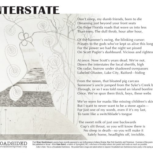 """Interstate"" - Poem by Brian Hendrickson, Art by Kate Baird - a Broadsided Press Collaboration"