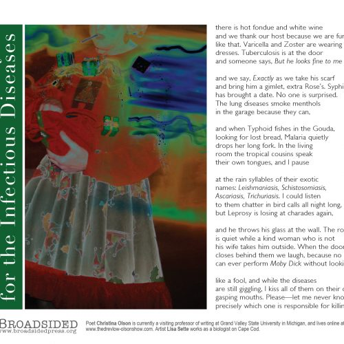 """""""At the Christmas Party for the Infectious Diseases"""" - Poem by Christina Olson, Art by Lisa Sette - a Broadsided Press Collaboration"""
