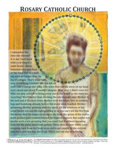 """Rosary Catholic Church"" - Poem by Gabrielle Calvocoressi, Art by Alesia F Norling - a Broadsided Press Collaboration"