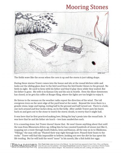 """Mooring Stones"" - Prose by Paula Carter, Art by Anya Ermak-Bower - a Broadsided Press Collaboration"