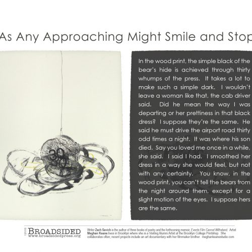 """As Any Approaching Might Smile and Stop"" - Poem by Zach Savich, Art by Meghan Keane - a Broadsided Press Collaboration"