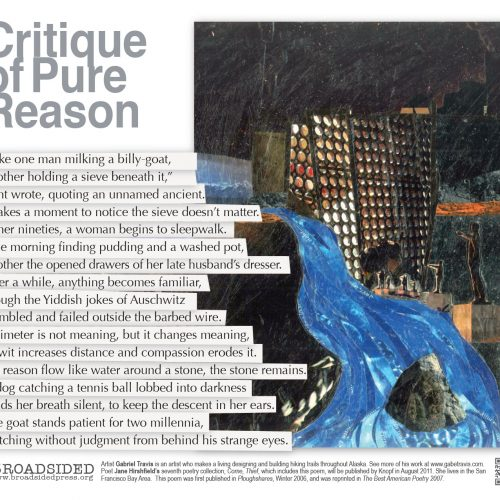 """Critique of Pure Reason"" - Poem by Jane Hirshfield, Art by Gabriel Travis - a Broadsided Press Collaboration"
