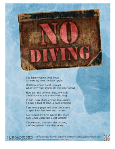 """No Diving"" - Poem by Gabriel Welsch, Art by Jim Benning - a Broadsided Press Collaboration"