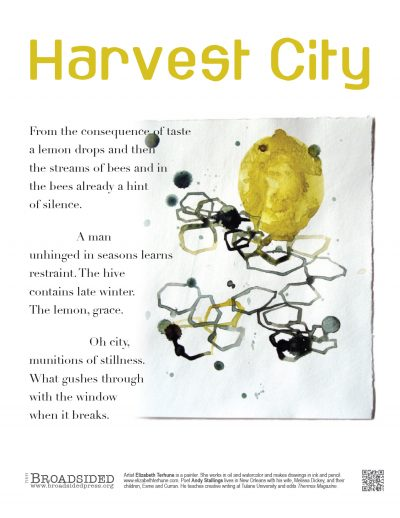 """Harvest City"" - Poem by Judy Stallings, Art by Elizabeth Terhune - a Broadsided Press Collaboration"