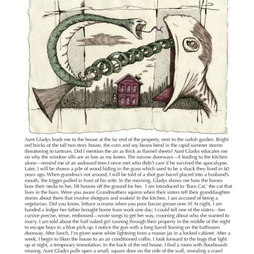 """The Red House, Indiana"" - Prose by Renee K Nelsen, Art by Cheryl Gross - a Broadsided Press Collaboration"